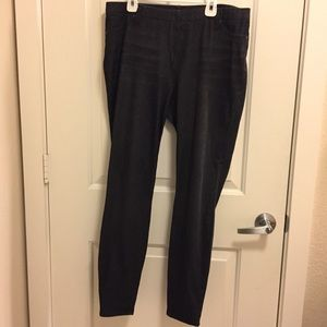 GREY BLACK JEGGINGS L LG 12-14 PANTS